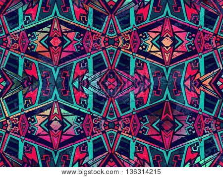 Abstract Background Geometric Tribal Ornament Blue