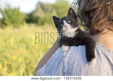 kitten on the shoulder of the boy outdoors