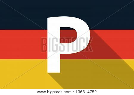 Vector Long Shadow Germany Flag With    The Letter P