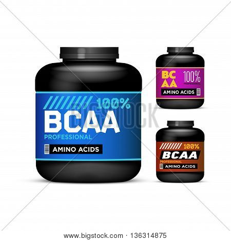 Sport Nutrition Containers. Branched-Chain Amino Acids set. Black cans collection with BCAA. Jar label on white background. Vector product packaging