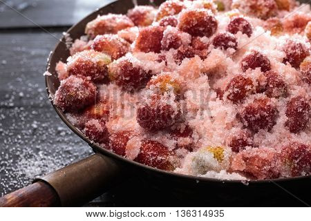 Strawberries Mixed With Sugar Left For Juice Release