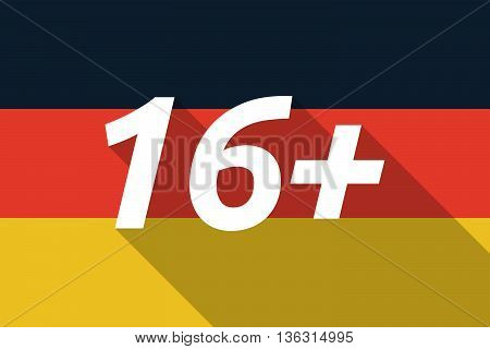 Vector Long Shadow Germany Flag With    The Text 16+
