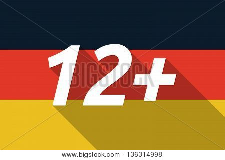 Vector Long Shadow Germany Flag With    The Text 12+