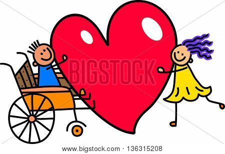 A doodle sketch of a little boy in a wheelchair holding a giant love heart with a girl friend.