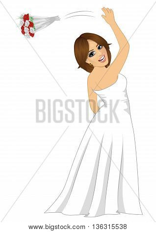 Young beautiful bride tossing a rose bouquet on her wedding day on blue background