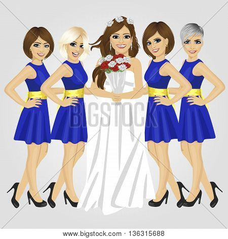 Beautiful bride in the wedding dress holding bouquet of roses with group of her bridesmaids