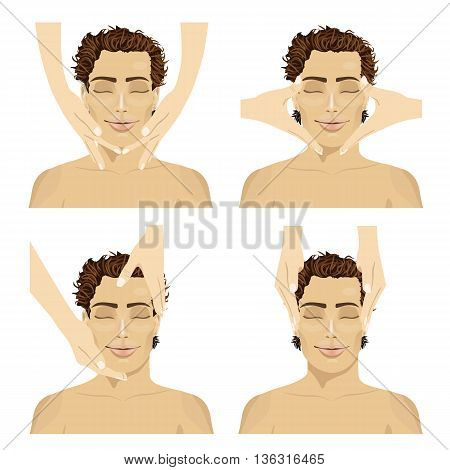 Collage of young man in spa salon getting facial massage isolated on white background