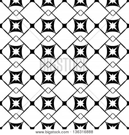 Square and star seamless pattern. Fashion graphic background design. Modern stylish abstract texture. Monochrome template for prints textiles wrapping wallpaper website etc. VECTOR illustration