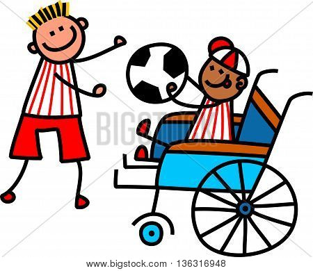 A doodle sketch of a happy little boy in a wheelchair holding a soccer ball with a able bodied friend.
