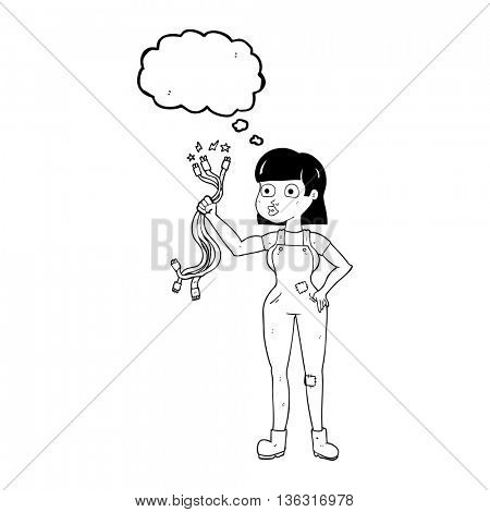 freehand drawn thought bubble cartoon female electrician