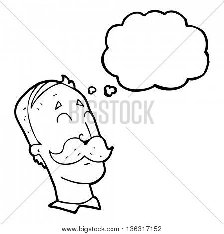 freehand drawn thought bubble cartoon ageing man with mustache