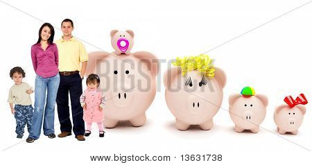 People with a piggybank family isolated over white