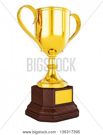 3d rendering of gold trophy cup isolated on white background - victory success concept