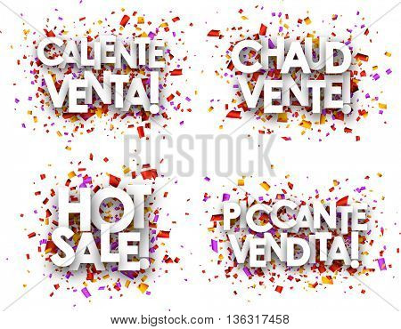 Hot sale paper backgrounds set, French, Spanish, Italian. Vector illustration.