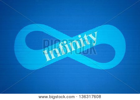 Mathematical symbol of infinity and the word Infinity on blue background