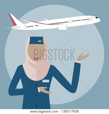 Female flight attendant, a Muslim woman in hijab. Muslim airline. The stewardess on the plane background. Arab Air hostess icon. Vector illustration flat design