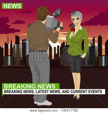 Back view of cameraman recording female journalist or TV reporter presenting the news in front of night city with skyscrapers