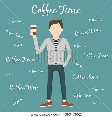 Man drinking coffee. Coffee time concept. Vector illustration flat design