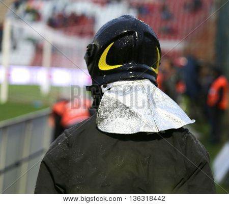 Firefighter In The Stadium During The Sporting Event