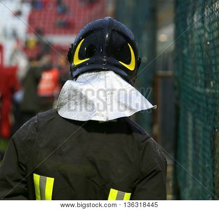 Firefighter With Riot Helmet For The Security Service