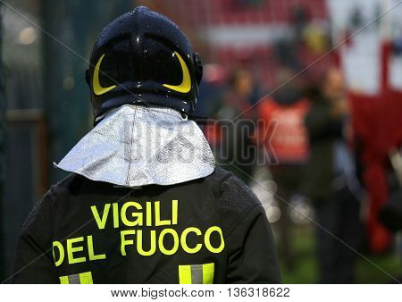 Italian Firefighter With Uniform With The Written Firefighters