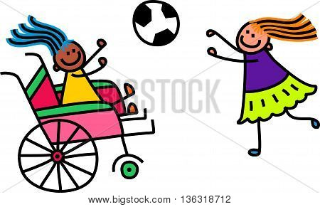 A doodle sketch of a happy little girl in a wheelchair playing a game of catch with an able bodied friend.