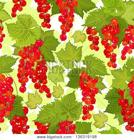 Red currant seamless pattern. Collection of berries. Vector illustration of berries for design menus, recipes and packages product.
