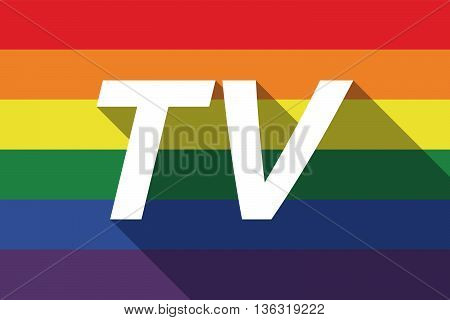 Vector Long Shadow Gay Pride Flag With    The Text Tv
