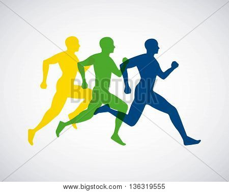 silhouette athletes running isolated icon design, vector illustration  graphic