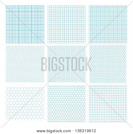 Set of nine cyan geometric grids seamless patterns isolated on white. Millimetric isometric hexagonal and circles.