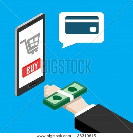 Mobile payments concept. Human hand finger pay money on a smartphone but app can payment with credit card only. Vector illustration. EPS10