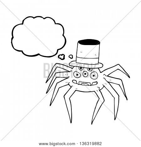 freehand drawn thought bubble cartoon halloween spider