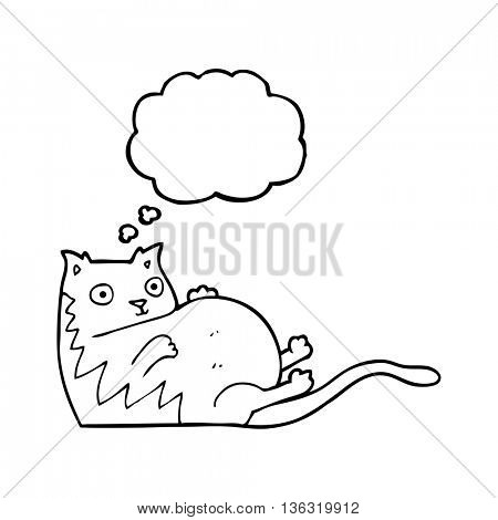 freehand drawn thought bubble cartoon fat cat