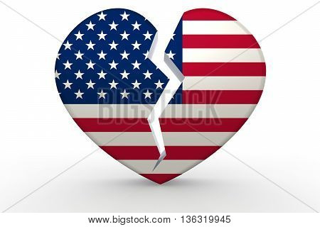 Broken white heart shape with United States flag 3D rendering