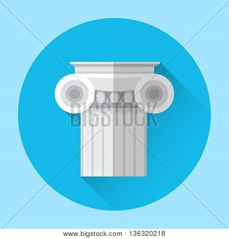 Antique Column Greek Architecture Icon Flat Vector Illustration