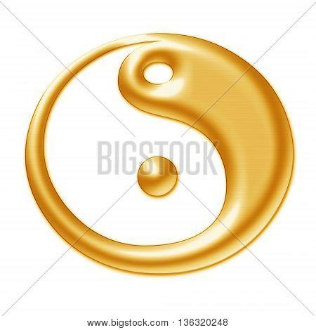 Golden symbol of Yin - Yang on a white background
