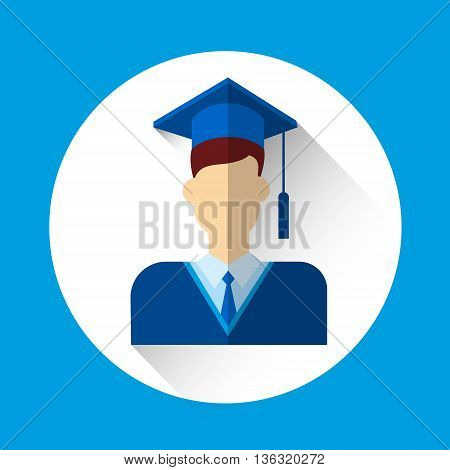 Graduate Student Icon Graduation Gown Cap Flat Vector Illustration