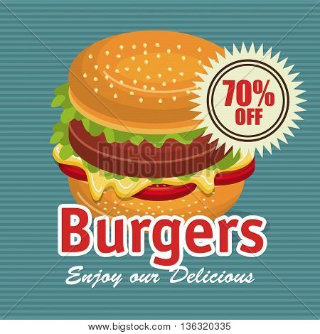delicious burger isolated icon design, vector illustration  graphic
