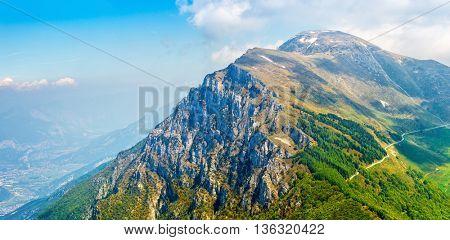 Picturesque view from hill monte baldo mountain to altissimo above lake garda veneto region italy