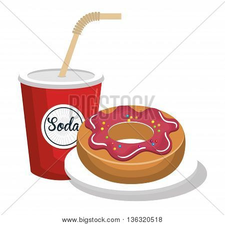soda and donut delicious and sweet isolated icon design, vector illustration  graphic