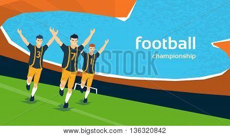Football Match Team Players Sport Championship Flat Vector Illustration