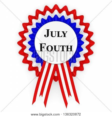 July Fourth Us Independence Day Rosette 3D Illustration
