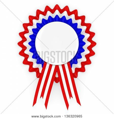 Red White and Blue Rosette with Blank White Badge 3D Illustration