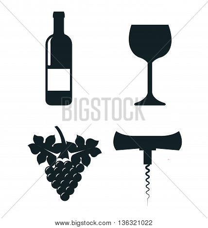 wine concept set icons  isolated icon design, vector illustration  graphic