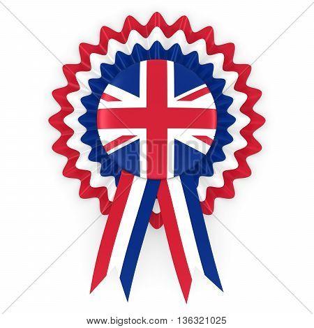 United Kingdom Flag Badge Rosette 3D Illustration