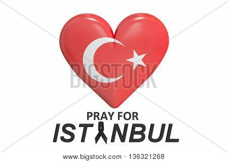 Pray for Istanbul Turkey concept 3D rendering