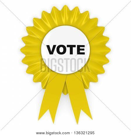 Yellow Vote Rosette Badge 3D Illustration Isolated on White
