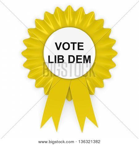 Vote Lib Dem Yellow Rosette 3D Illustration