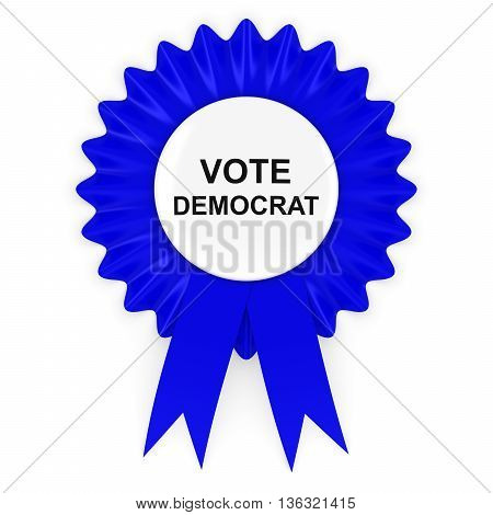 Vote Democrat Us Elections Blue Rosette 3D Illustration