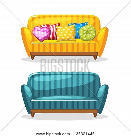 sofa soft colorful homemade, set 1 in vector